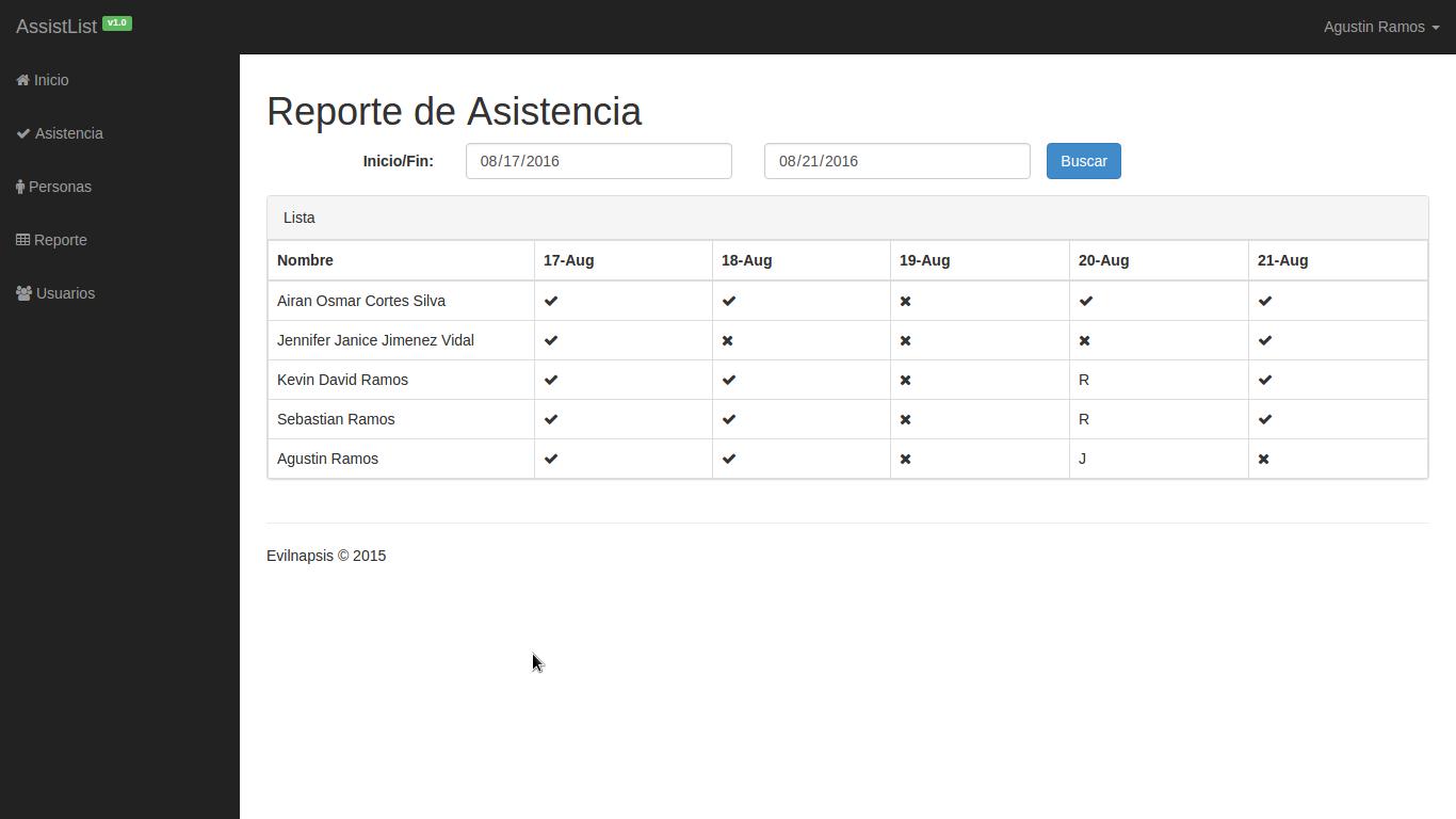 assistlist  sistema de control de asistencias con php y